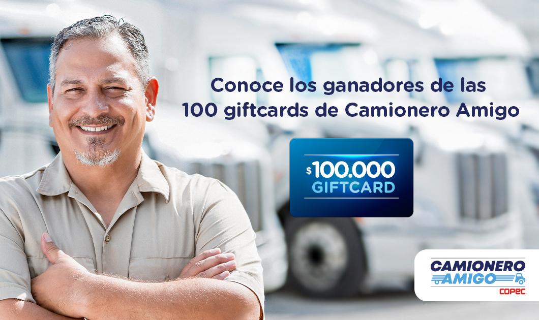 Ganadores gift cards Camionero Amigo