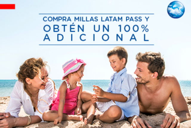 Compra Millas LATAM Pass y obtén un 100% adicional