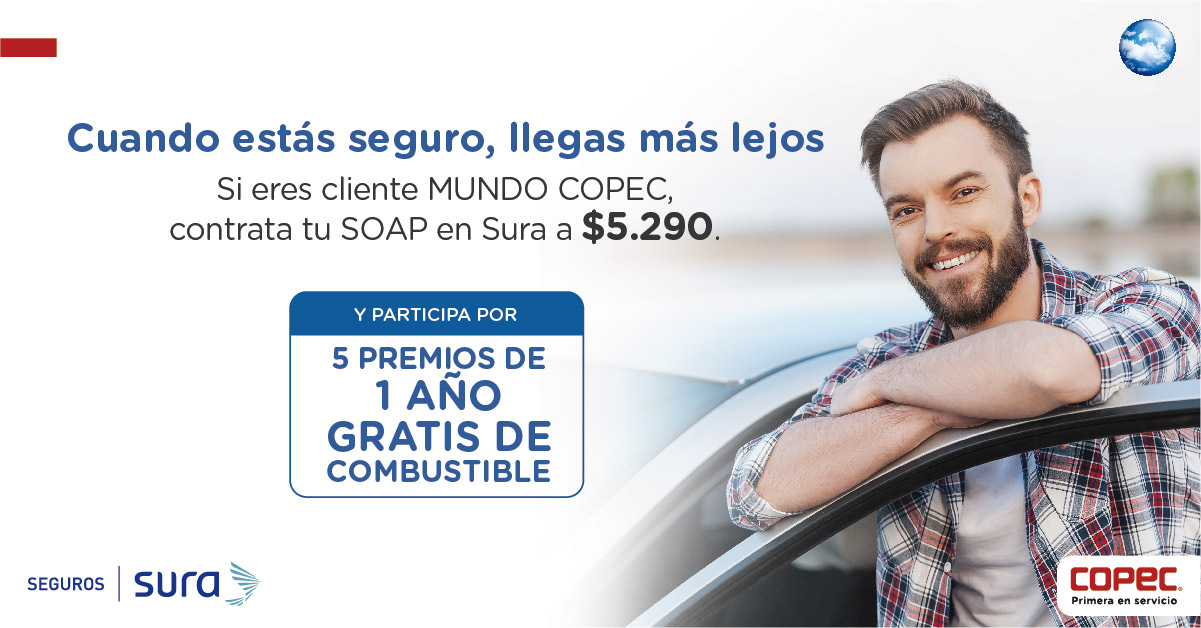 Contrata tu SOAP desde $5.290 y participa por 1 año gratis de combustible.