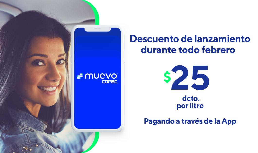 Usa Muevo y ahorra $25/Lt en combustible durante todo febrero